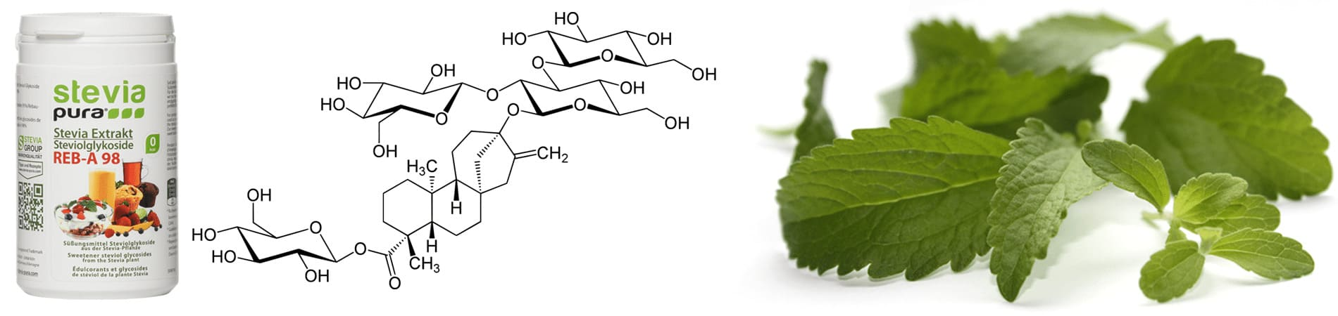 Stevia extract Rebaudioside A is a high-intensity sweetener
