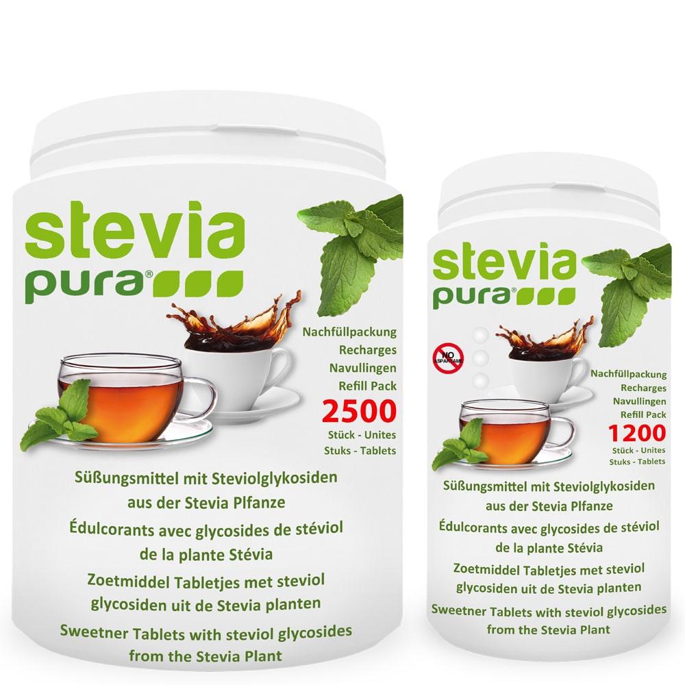 Neben den Dosierspendern, bieten wir die Stevia Tabletten auch als Nachfüllpackung in verschiedenen Größen an. Dies schont die Umwelt, da unsere Dosierspender sehr leicht nachfüllbar sind.