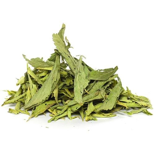 Getrocknete Stevia Blätter der Stevia rebaudiana Pflanze.