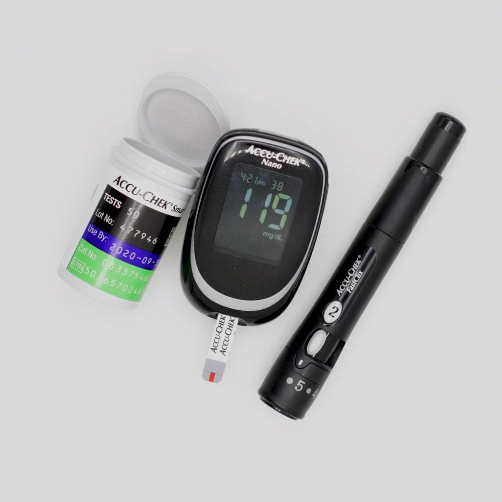 Diabetes Teststreifen und Blutzucker Testgerät.